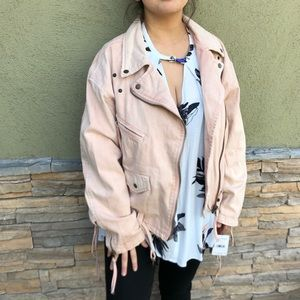 3f4328107cbe Free People Blush Pink Oversized Denim Moto Jacket